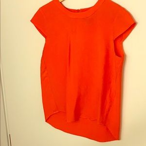 Jcrew Orange Cap Sleeve Shirt